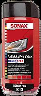 Цветной полироль с воском (красный) SONAX Polish & Wax Color NanoPro 500 мл
