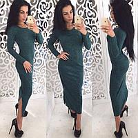 Платье стильное из ангоры меланж длинное за колено разные цвета SMok1684