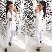 Костюм женский модный пиджак с поясом и брюки дайвинг разные цвета Dol580