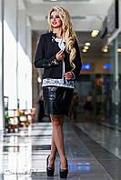 Чёрный женский жакет с гипюровыми вставками, размер 44, 46, 48, 50