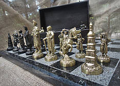 "Шахматы ""Запорожская Сечь"". Набор шахмат (доска из мрaмора, фигурки бронзовые)"