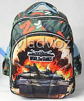 Школьный рюкзак для мальчиков ортопедическая спинка Танки зелёный