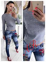 Женский теплый свитер с берендовыми принтами (2 цвета)