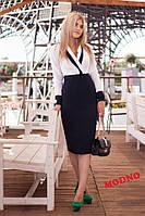 Платье модное удобное в офисном стиле с юбкой высокой посадки разные цвета SMm1685