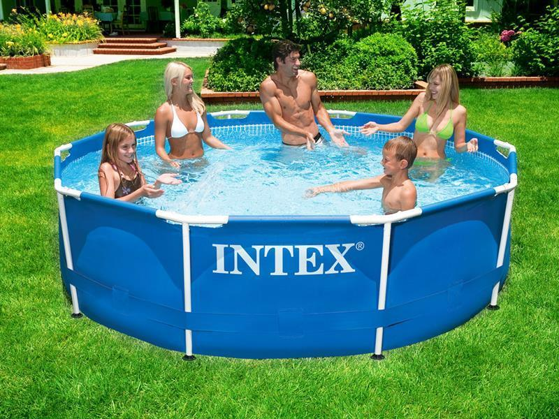 Каркасный круглый бассейн METAL FRAME POOL 305х76 см Intex Басейн круглый (насос,подстилка,тент)