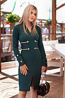 Платье стильное женское в гусарском стиле с золотой отделкой 4 цвета SMm1686