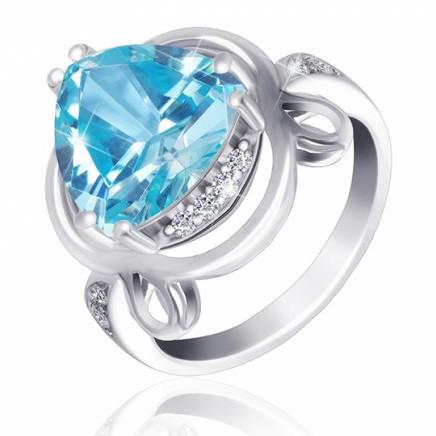 """Серебряное кольцо с имитацией топаза """"381"""""""