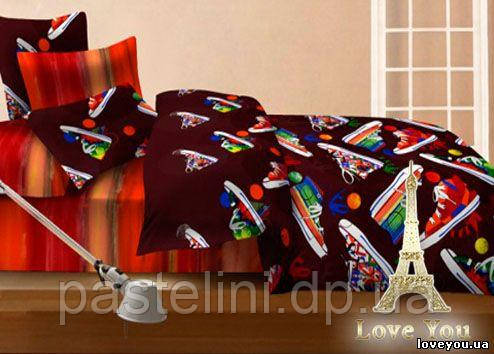 Love you евро комплект  постельного белья сатин Ходики