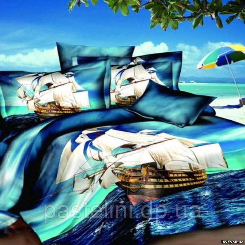 Love you евро комплект  постельного белья сатин Фрегат