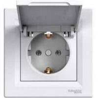 Розетка електрическая с заземлением с крышкой (БЕЛЫЙ) ASFORA SCHNEIDER ELECTRIC EPH3100121