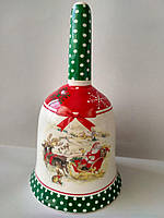 Колокольчик с новогодним рисунком Рождественские сани