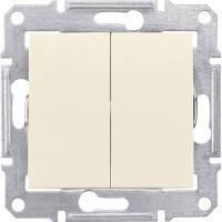 Выключатель проходной 2-клавишный, слоновая кость - Schneider Electric Sedna (Код: SDN0600123)