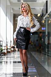 Оригинальная чёрная юбка из эко-кожи и костюмной ткани, размеры 42, 44, 46, 48, 50