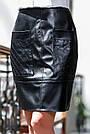 Юбка из экокожи и костюмки чёрная, фото 4
