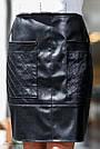 Юбка из экокожи и костюмки чёрная, фото 3