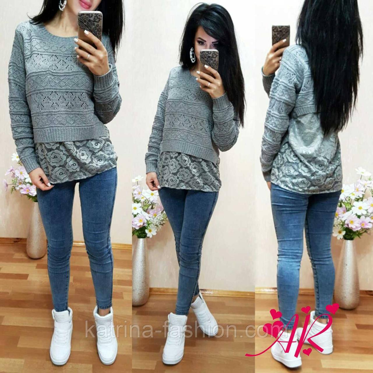 Женский стильный теплый серый свитер со вставкой   продажа, цена в ... 237dc65a154