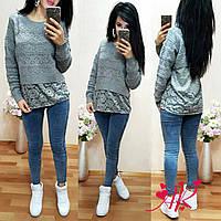 Женский стильный теплый серый свитер со вставкой