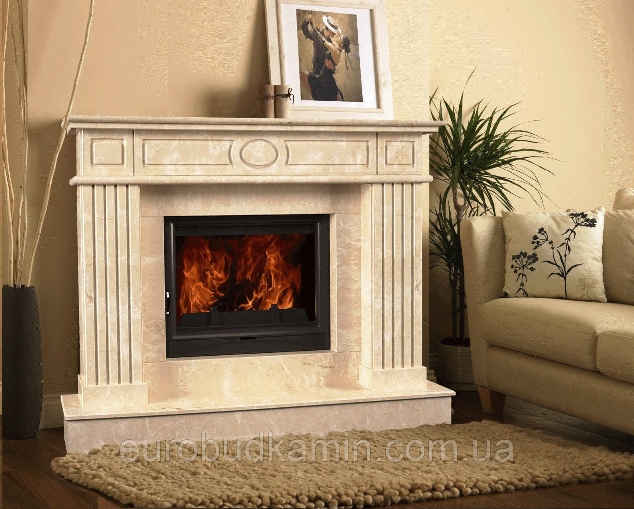 Портал для камина (облицовка) Оскар из натурального мрамора Bianco Carrara или Crema Marfil