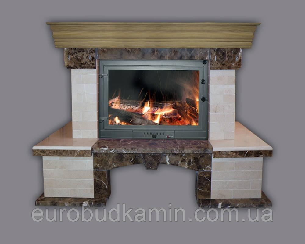 Портал для камина (облицовка) Глория плитка из натурального мрамора Botticino, Emperador Dark