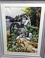 """Схема для часткової вишивки бісером """"Вовки"""", фото 1"""