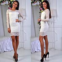 Выходное вечернее нарядное коктейльное белое платье с гипюром S M L