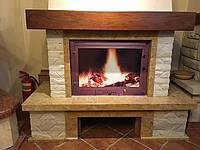 Портал для камина (облицовка) Шешоры из натурального мрамора Giallo reale antic,плитка білий мармур+дубова бал