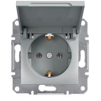 Розетка с заземлением и крышкой, алюминий - Schneider Electric Asfora EPH3100161