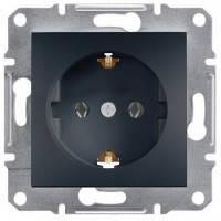 Розетка с заземлением и шторками, антрацит - Schneider Electric Asfora EPH2900271