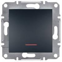 Выключатель 1-клавишный с подсветкой, антрацит - Schneider Electric Asfora EPH1400171