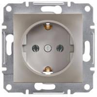 Розетка с заземлением и шторками, бронза - Schneider Electric Asfora EPH2900269