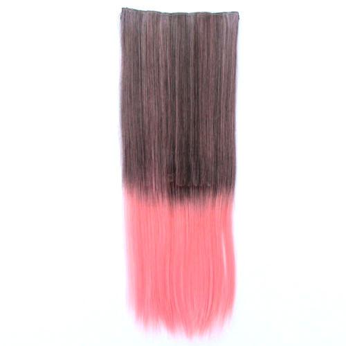 Чудо-прядь накладная на клипсах из искусственных волос оттенок русый-розовый