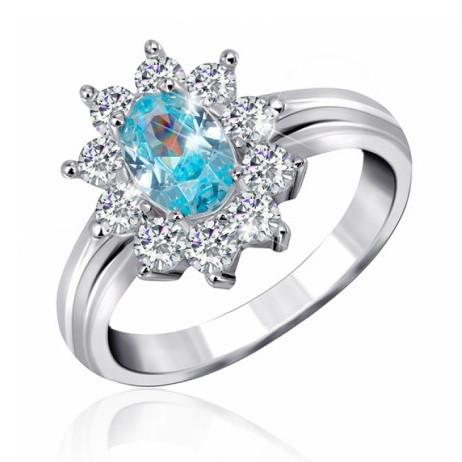 """Серебряное кольцо с имитацией топаза """"386"""""""