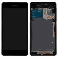 Дисплей (LCD) Sony D6502/ D6503 Xperia Z2 с сенсором черный + рамка