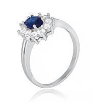 """Серебряное кольцо с имитацией сапфира """"386"""""""