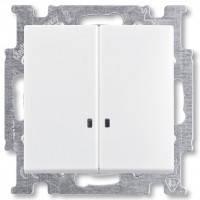Выключатель 2-клавишный с подсветкой, белый - Abb Basic 55