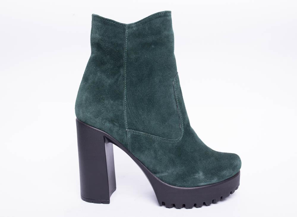 Ботинки из натуральной зеленой замши №400-3