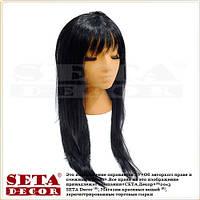 Черный парик с длинными прямыми волосами и чёлкой