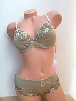 Комплект  из принтованного полотна Бюстгальтер push-up и трусики слип ТМ Марта