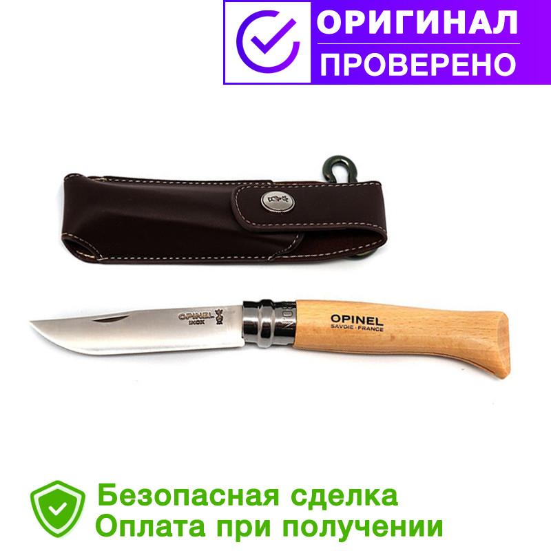 Нож Opinel Inox Natural + etui №8 (с чехлом)  Бук (001089)