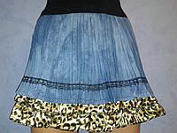 Джинсовая юбка плиссе