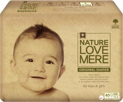 Подгузники NatureLoveMere, Original, размер L (9-12кг), 40шт
