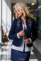 Синий женский жакет с вышивкой из стрейч-коттона, размер 42, 44, 46, 48