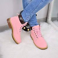 Ботинки женские Timberland розовые 3514, осенняя обувь