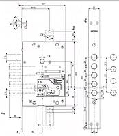 Замок для входных дверей 4-ригельный перекодируемый  Mottura 52Y535BSRN54 (левосторонний)