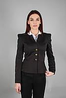 Пиджак женский  с подкладкой черный в деловом стиле (Жакет жіночий  чорний)