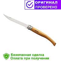 Складной филейный нож с деревянной ручкой Opinel Slim Beechwood No.10 бук (000517)