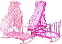 Кроватка – качалка 9349 для кукол с балдахином