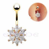 Пирсинг, сережка для пупка, украшенная горным хрусталем в форме ЦВЕТКА, цвет золото + белый камень
