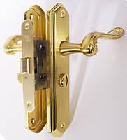 Комплект для межкомнатных дверей RDA Monza (ручка на планке, механизм 258) полированная латунь/матовая латунь