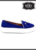 Стильные слипоны-туфли, натуральная замша, с кисточкой + (3 цвета)